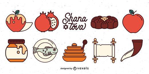Conjunto de ilustração de elementos de Rosh Hashaná