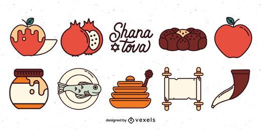 Rosh hashanah elements illustration set