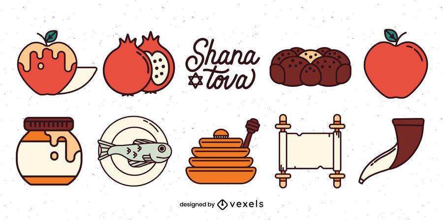 Conjunto de ilustración de elementos de rosh hashaná