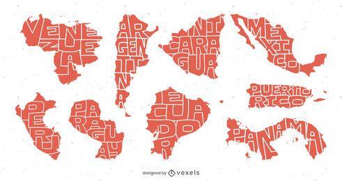 Pacote de países de texto da América Latina