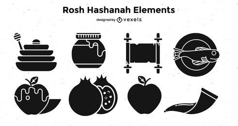 Rosh hashanah elements black set