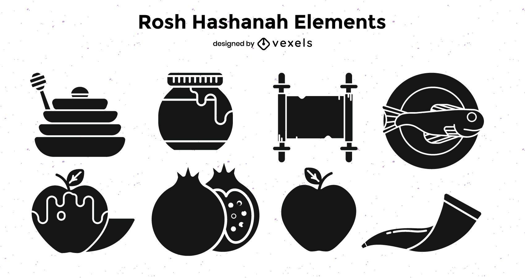 Rosh hashanah elements black set