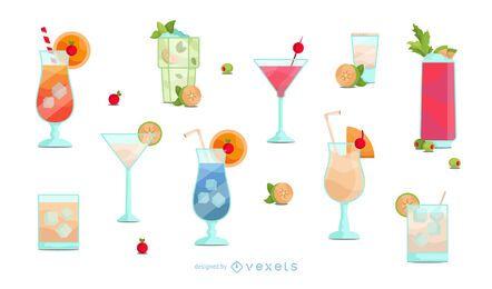 Flache Cocktailglas-Design-Sammlung