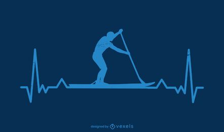Paddleboarding Heartbeat Silhouette Design