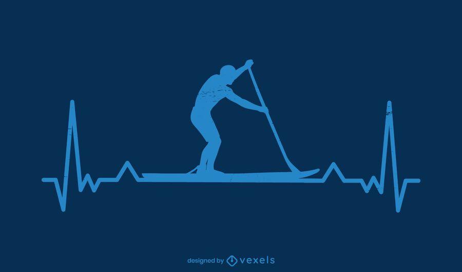 Paddleboarding Heartbeat Silhouette Design