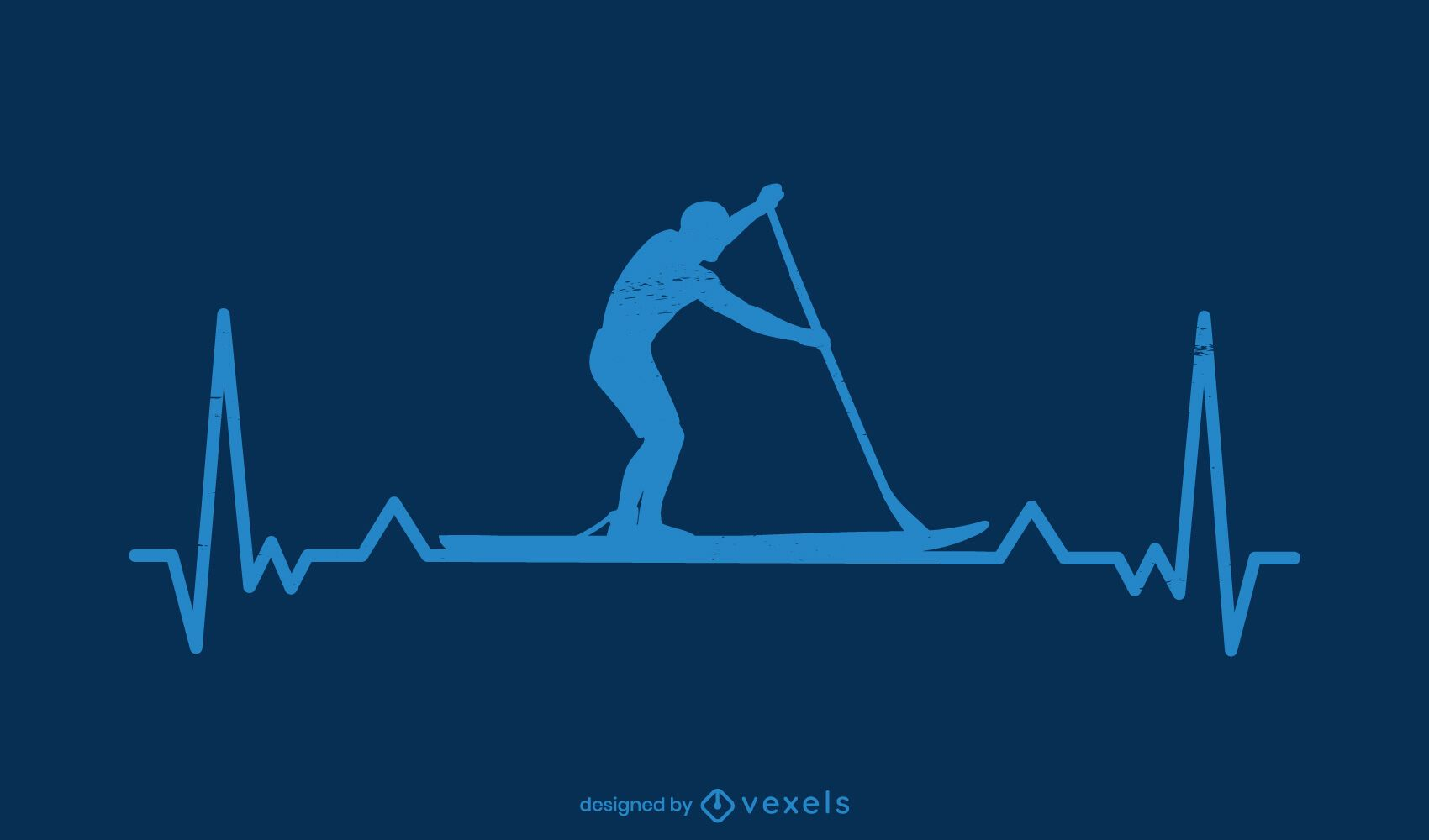 Diseño de silueta de latido del corazón de paddleboarding