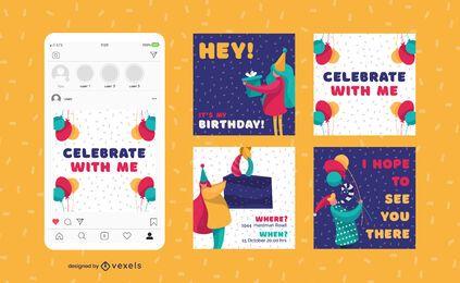 Conjunto de postagem de mídia social de aniversário