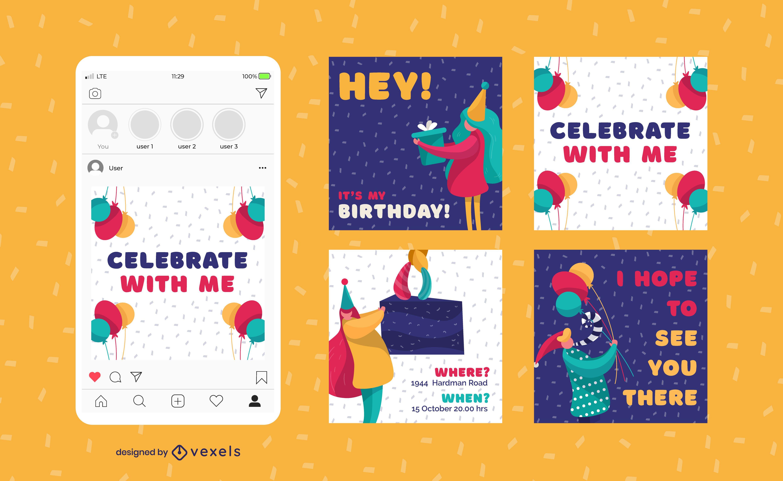 Conjunto de publicaciones de redes sociales de cumpleaños