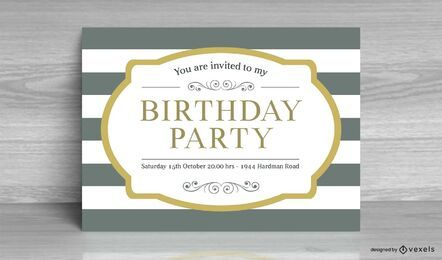 Cartão de convite de aniversário listrado vintage