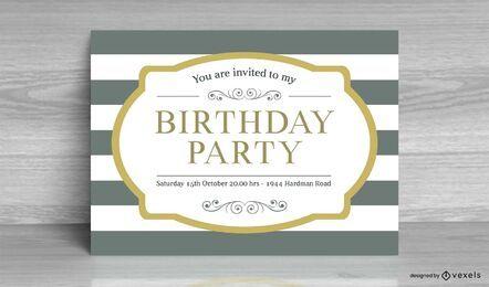 Tarjeta de invitación de cumpleaños a rayas vintage