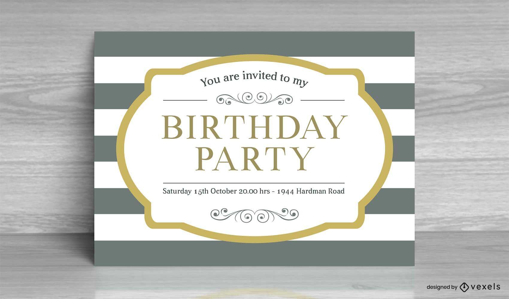 Vintage Striped Birthday Invitation Card