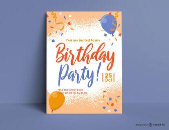 Modelo de convite de retrato de festa de aniversário