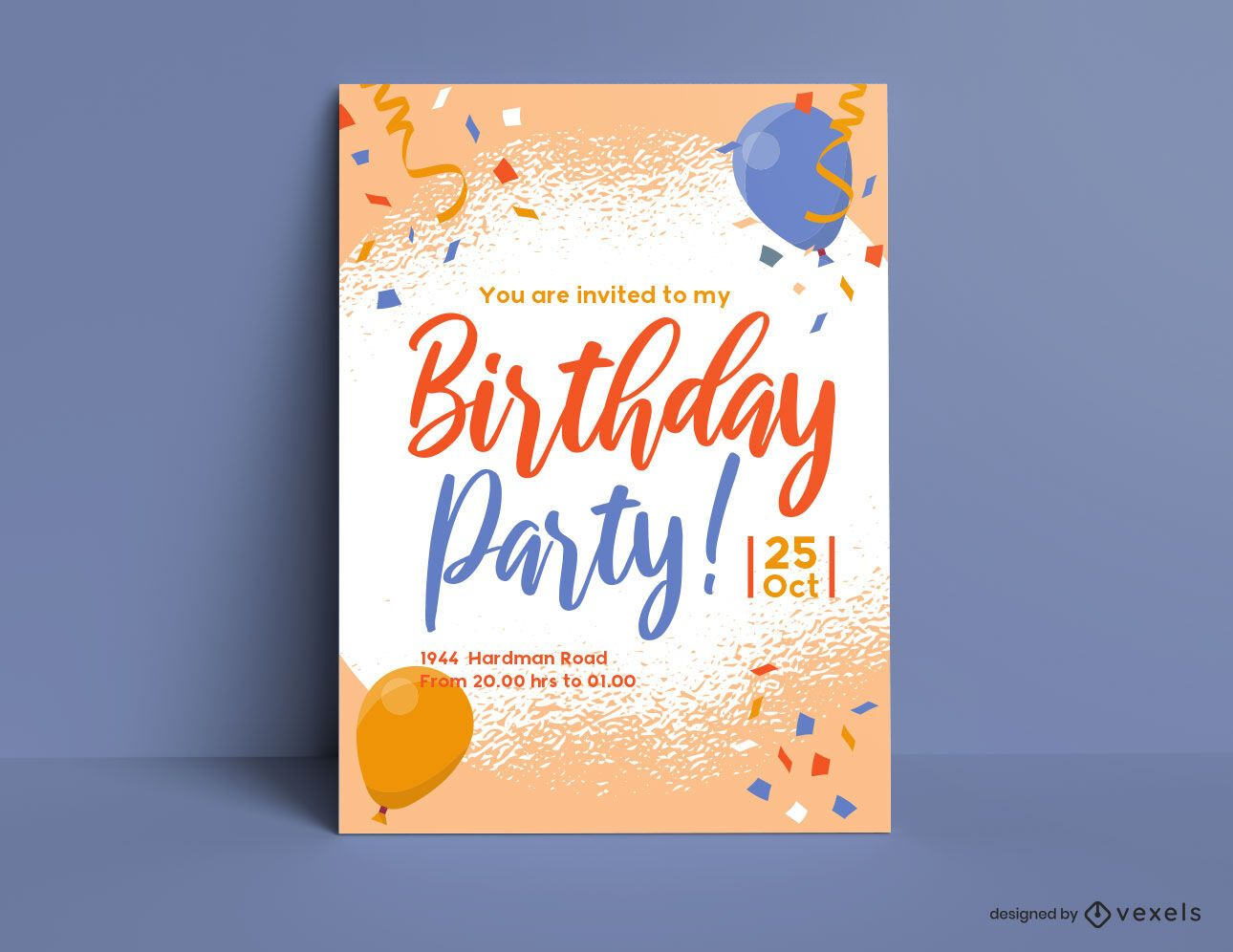 Plantilla de invitación de retrato de fiesta de cumpleaños