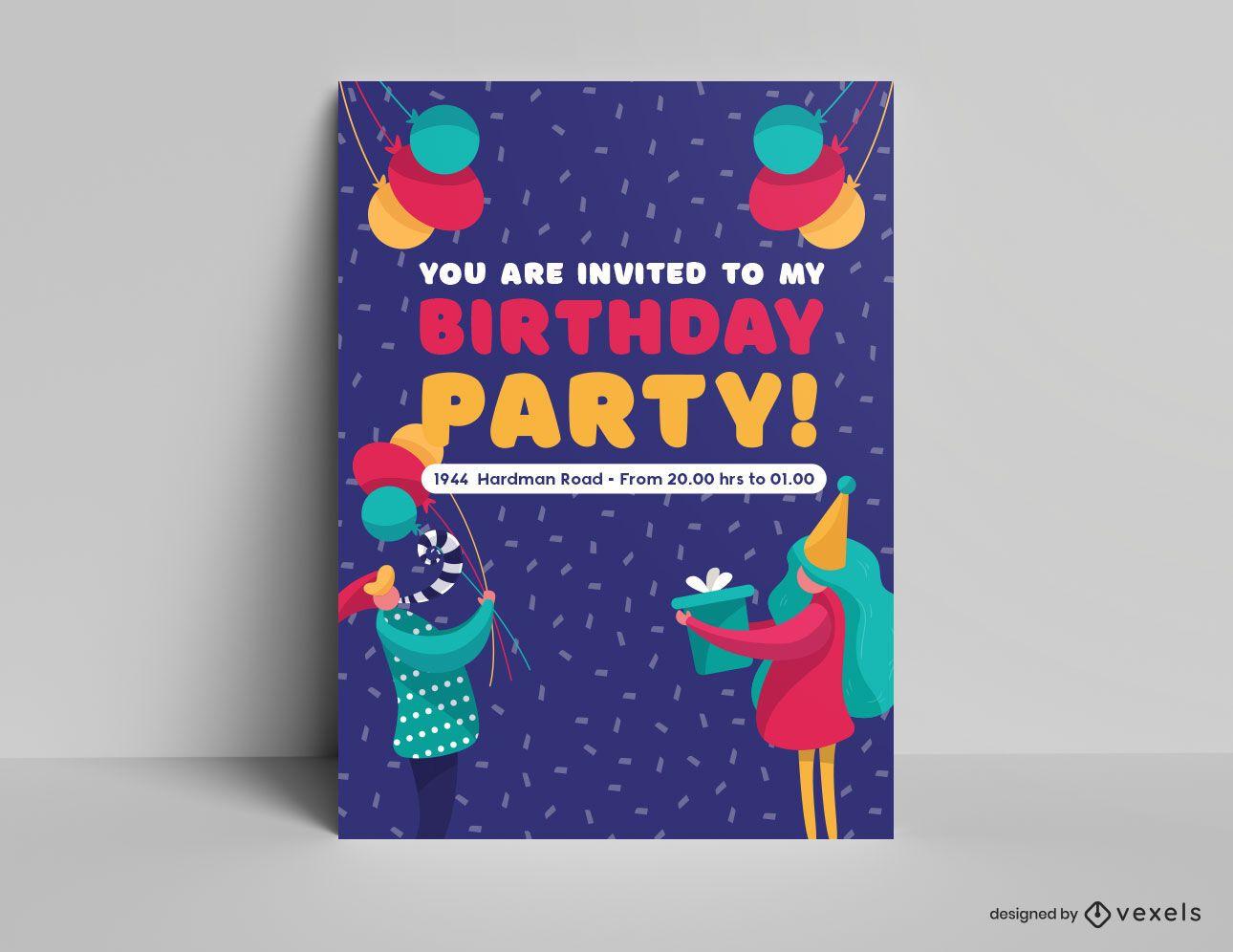 Plantilla de invitación de cartel de fiesta de cumpleaños
