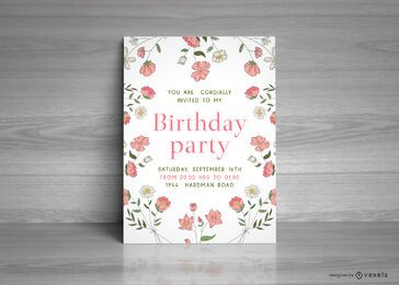 Modelo de cartão de festa de aniversário floral