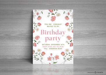 Plantilla de tarjeta de fiesta de cumpleaños floral