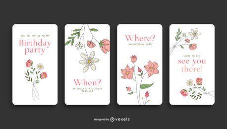 História de mídia social de convite de aniversário floral