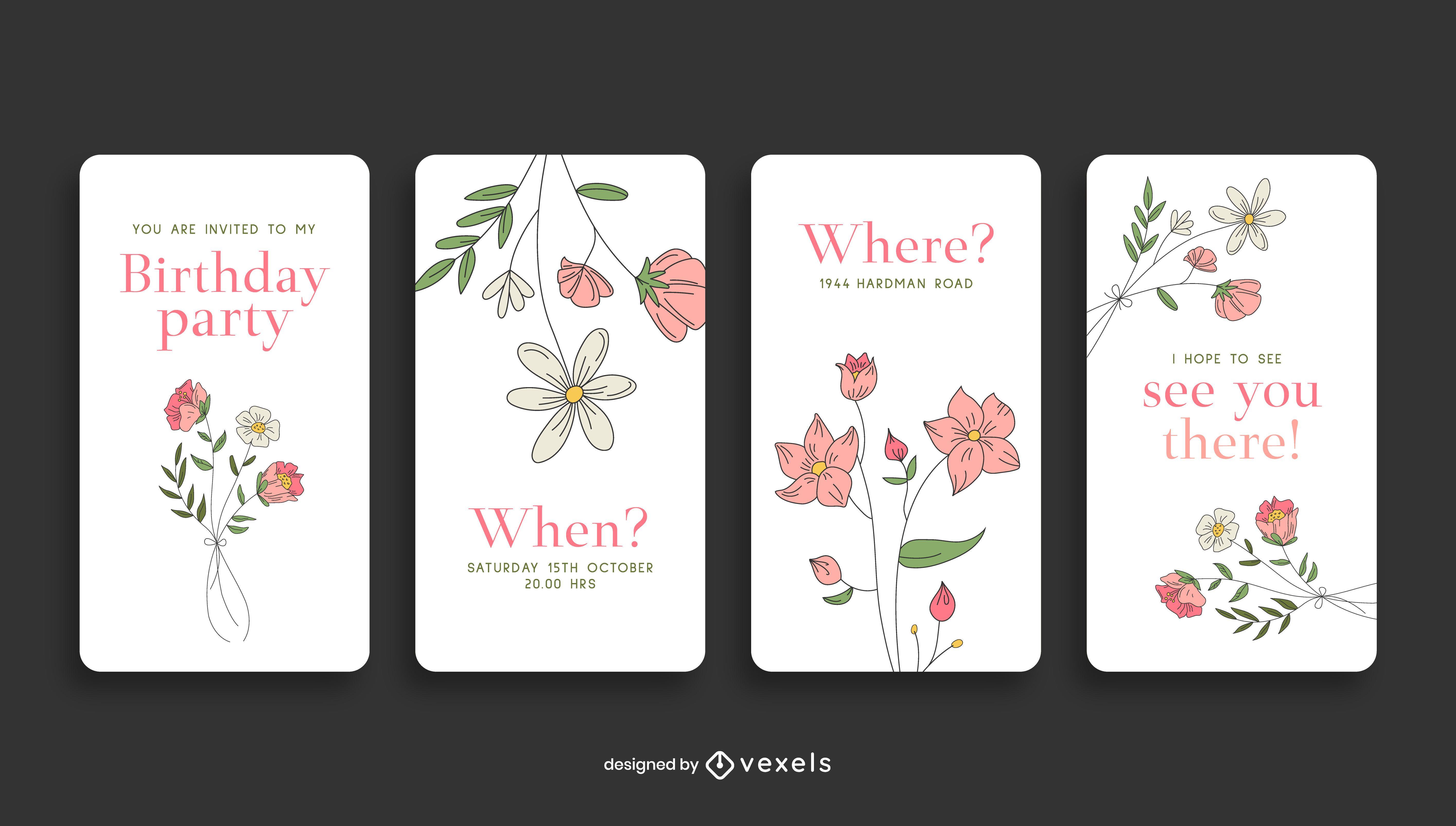 Invitación de cumpleaños floral historia de redes sociales
