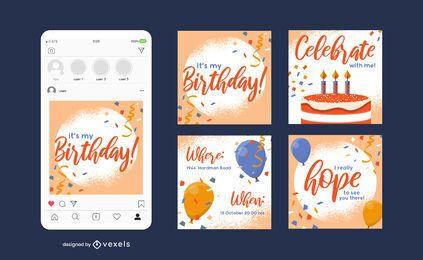 Modelo de postagem em mídia social de aniversário