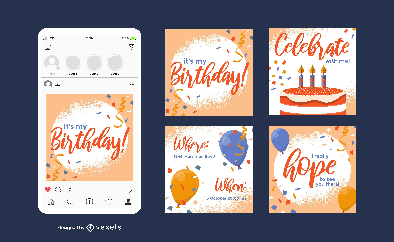 Plantilla de publicación de redes sociales de cumpleaños