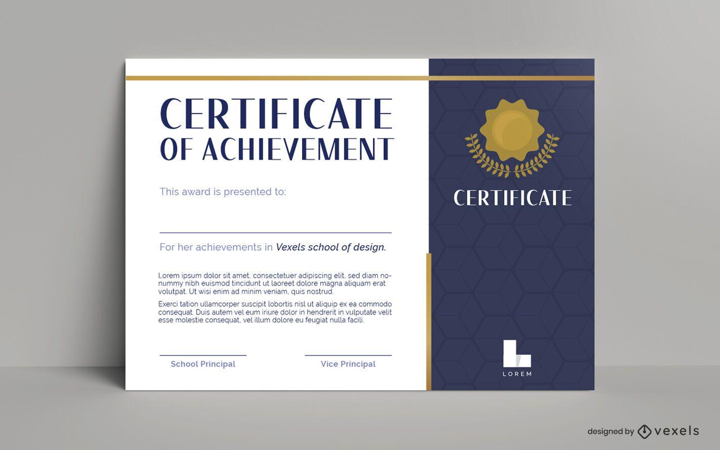 Plantilla de diseño de certificado de logros