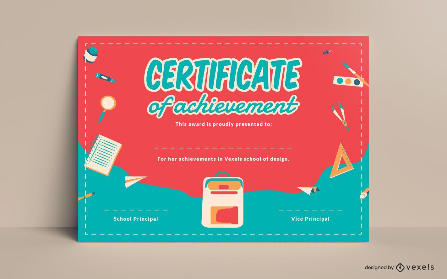Plantilla de certificado para niños de la escuela