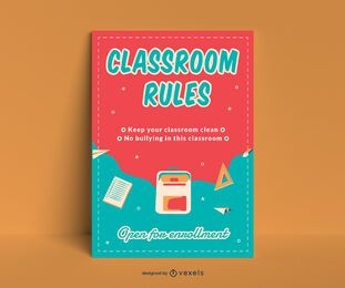 Diseño de carteles de reglas del aula.