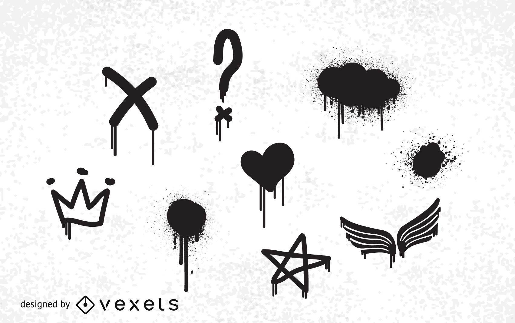 Pack de vectores gratis de graffiti abstracto