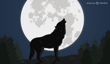 Ilustración de diseño de lobo aullador nocturno