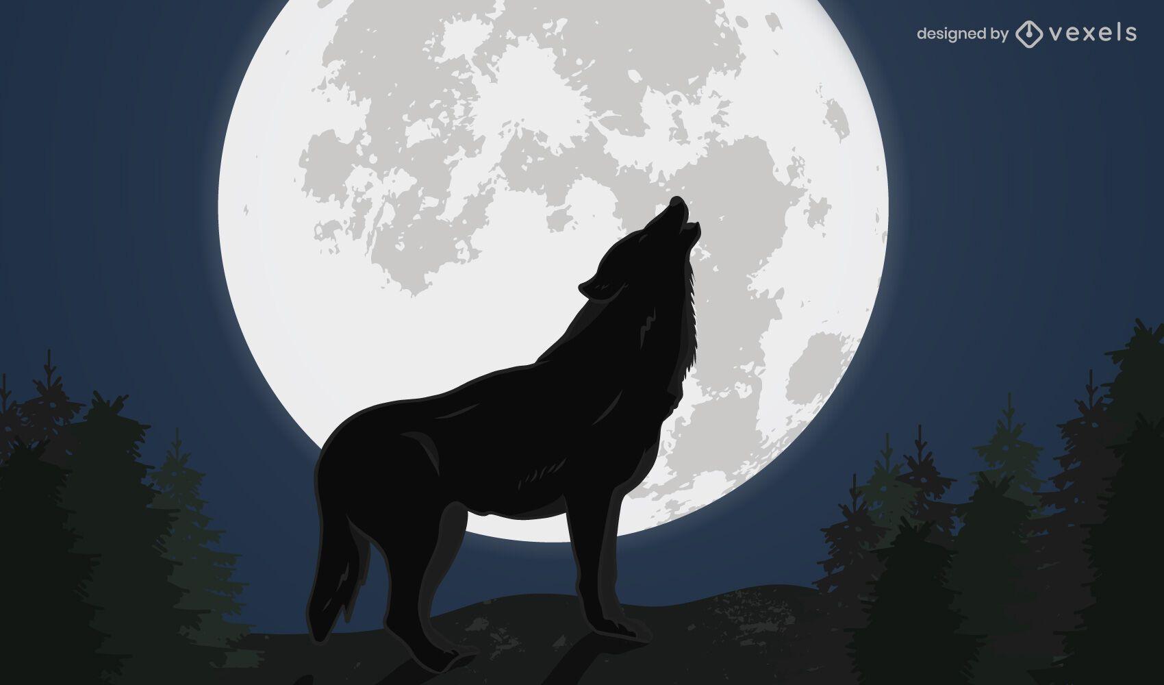 Nachtheulender Wolf Design Illustration