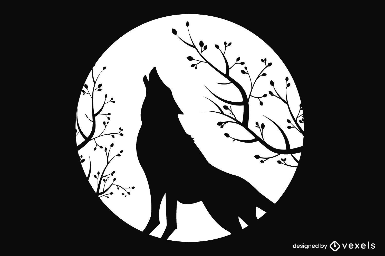 Silueta de lobo aullador de luna