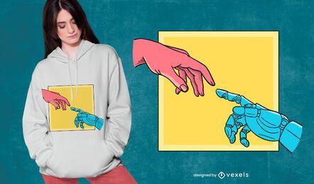 El diseño de la camiseta del robot de creación.