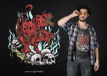 Diseño de camiseta de criatura Hellhound