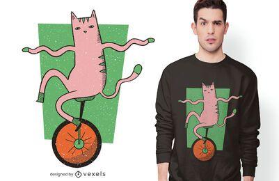 Diseño de camiseta de gato monociclo