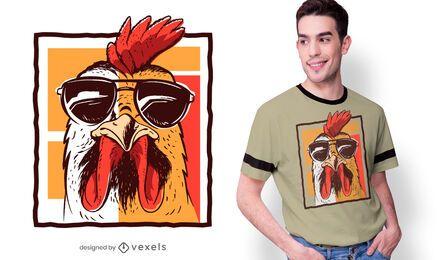 Diseño de camiseta de gafas de sol gallo