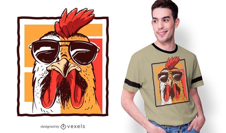Rooster sunglasses t-shirt design