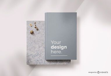 Book hardcover mockup composition
