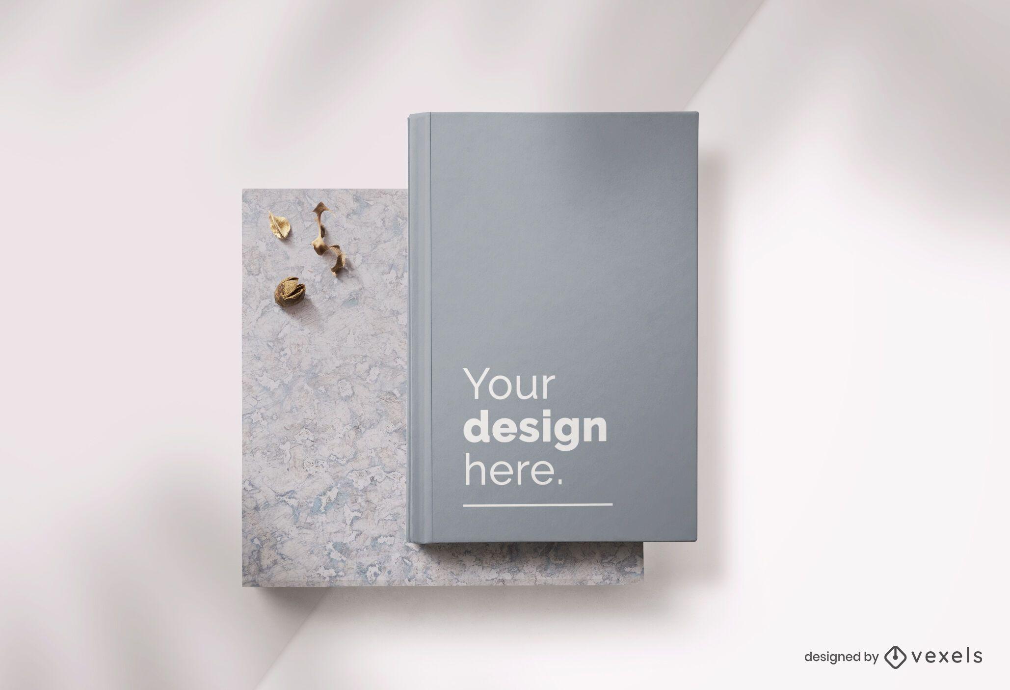 Composição de maquete de capa dura de livro