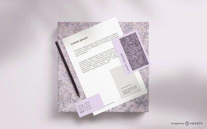 Maqueta de papelería mínima de marca