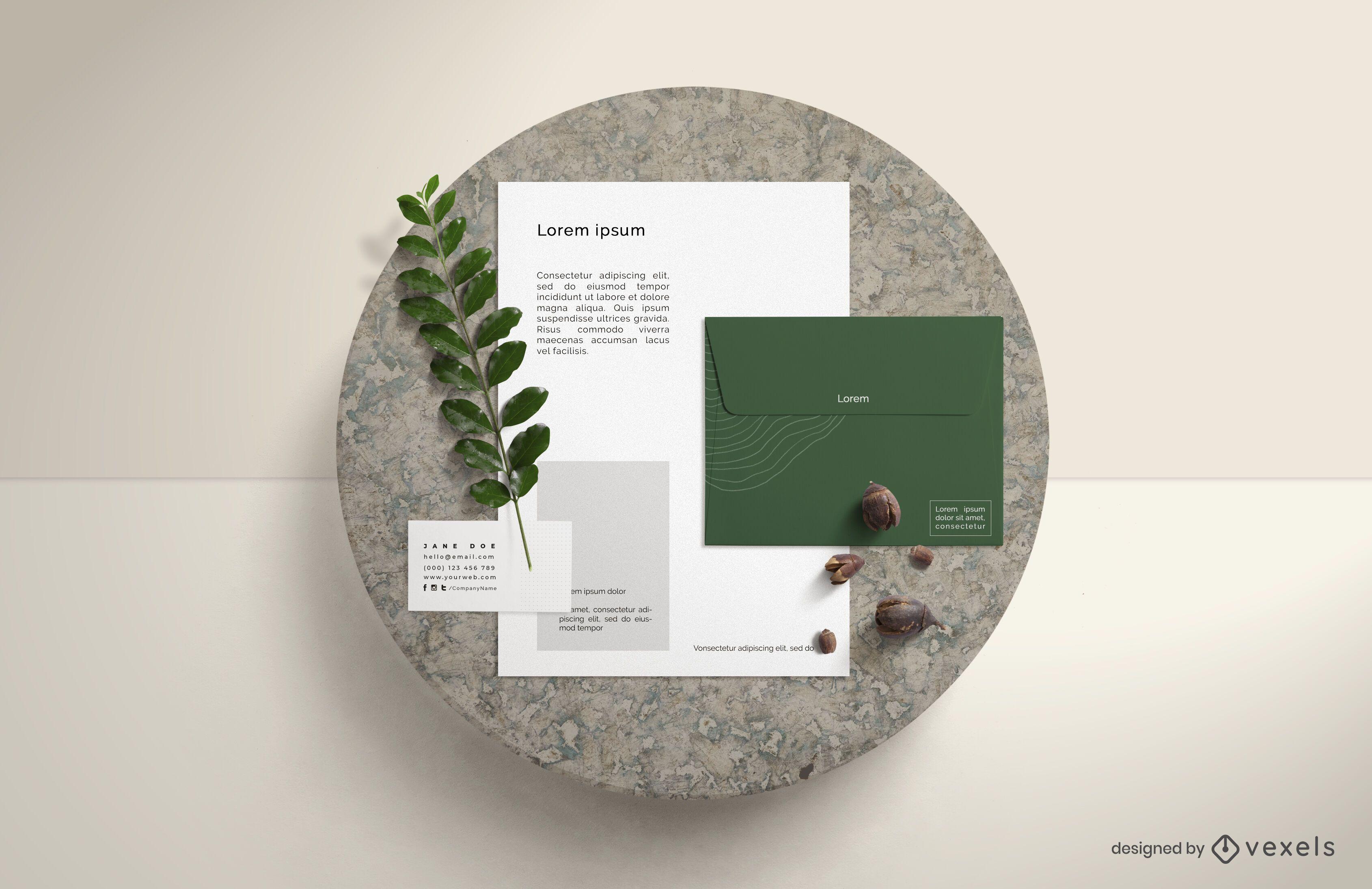 Composição da maquete de branding da natureza