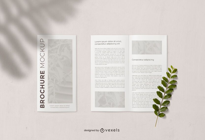 Brochure open and closed mockup composition