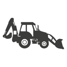 Backhou construction machine silhouette