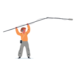 Boom operator man character illustration