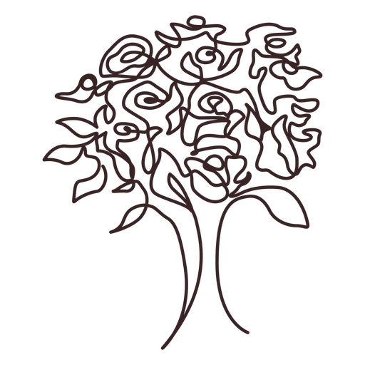 Bouquet of roses line drawing design