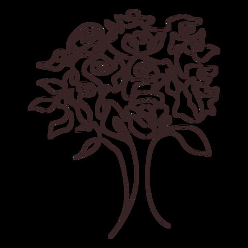 Ramo de rosas diseño de dibujo lineal