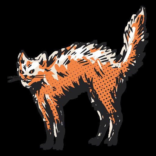 Ilustración de gato erizado