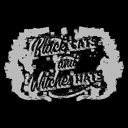 Letras de halloween de gatos y brujas