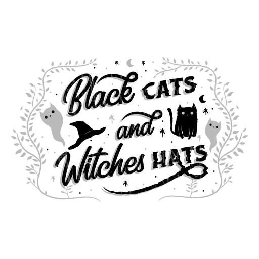 Cats and witches halloween lettering