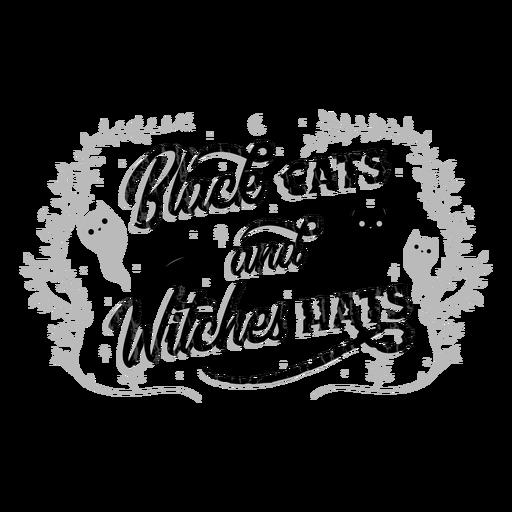 Letras de halloween de gatos e bruxas