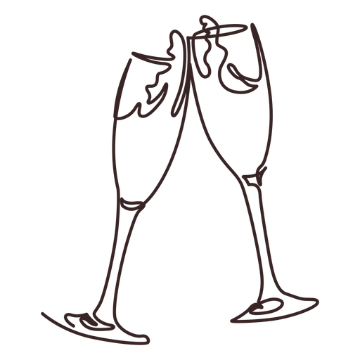 Champagne cheers line drawing design Transparent PNG